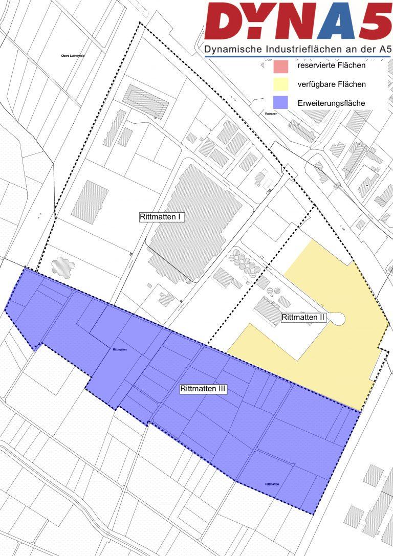 Auf diesem Plan sind mit verschiedenen Farben freie und vergebene Grundstücke von DYNA5 gekennzeichnet